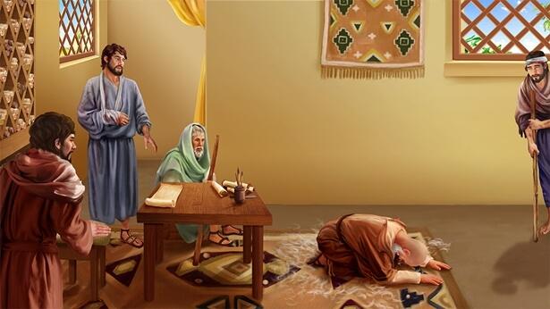Satana îl ispitește pe Iov pentru prima oară (animalele îi sunt furate și calamitățile îi lovesc pe copiii săi)