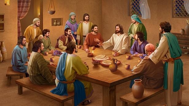 Domnul Isus mănâncă pâine și explică Scripturile după învierea Sa